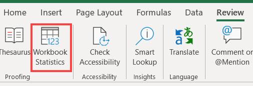 Excel 리본 메뉴의 통합 문서 통계 명령