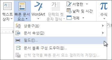 빠른 문서 요소 메뉴의 필드 삽입 옵션