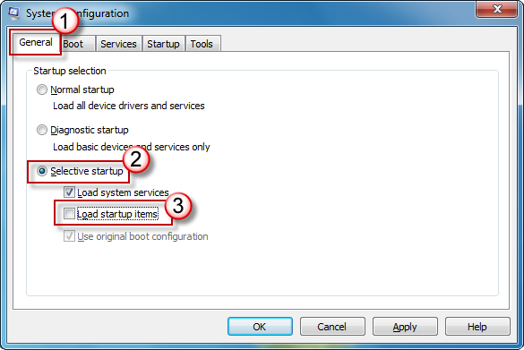 System Configuration -  General tab - Selective startup option checked