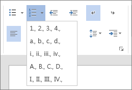 홈 탭의 단락 그룹에서 순차적 목록에 대한 숫자 및 문자 옵션이 포함된 번호 매기기 옵션의 스크린샷