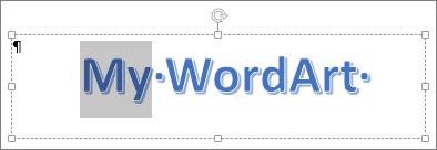 일부가 선택된 WordArt 텍스트