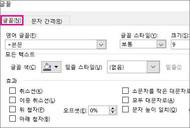 Excel의 글꼴 대화 상자