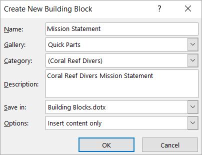 새 문서 블록 만들기 대화 상자