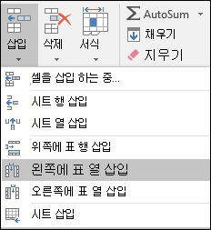 홈 탭에서 표 열을 추가 하려면 화살표를 클릭 하는 삽입 > 왼쪽에 표 열을 삽입 합니다.