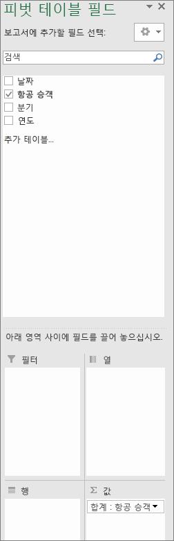 시간 그룹화 전 피벗 테이블 필드 목록