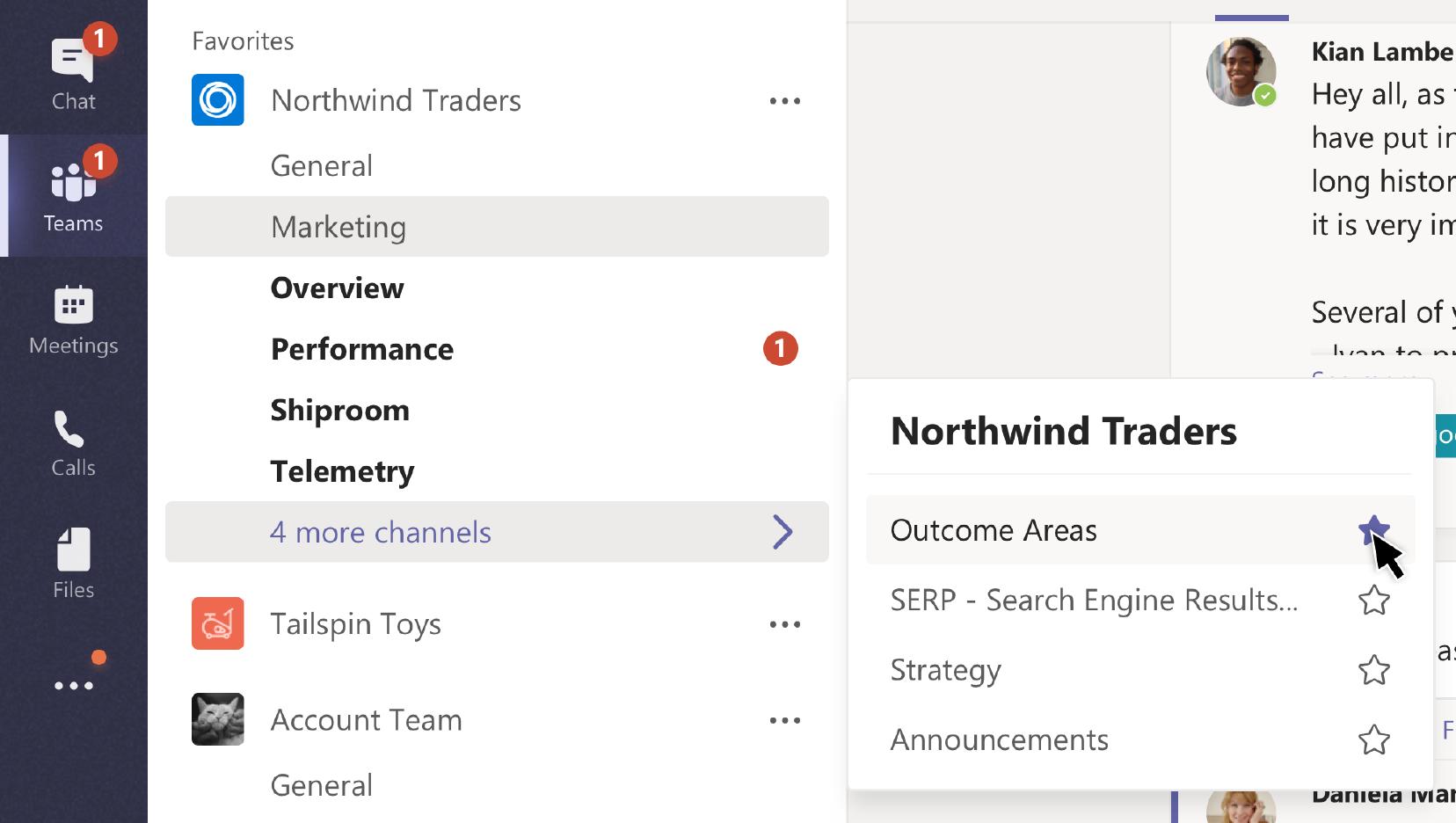 기타 옵션 메뉴에서 채널을 즐겨찾기에 추가