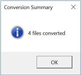 the screenshot of the conversion summary dialog box