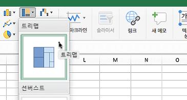 다음 두 가지 옵션을 표시하는 계층 구조 차트 드롭 다운 상자가 있는 워크시트: 트리맵 및 선버스트