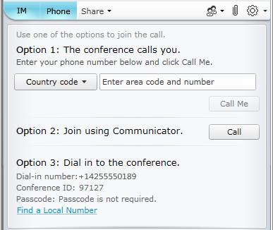 Lync Web App의 오디오 참가 옵션