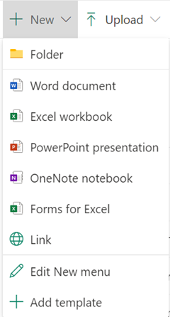 문서 라이브러리에서 새 파일을 만들려면 새 메뉴를 열고 원하는 파일 형식을 선택 합니다.
