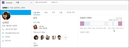 화면 캡처: 비즈니스용 Bing을 사용한 사용자 검색을 보여 줍니다.