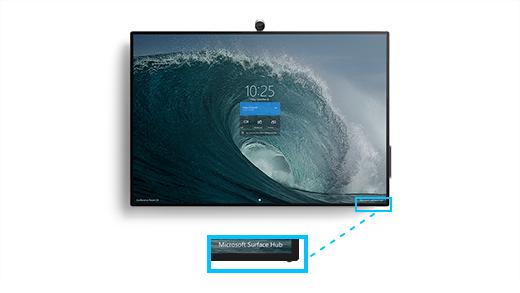 Surface Hub 2S의 오른쪽 아래 모서리에 볼륨 및 전원 단추 위치를 확대하는 콜아웃이 있는 Surface Hub 2S를 보여줍니다.