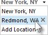 날씨 표시줄 위치 목록에서 도시 선택
