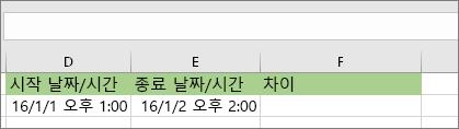 1/1/16 1:00 PM 시작 날짜 1/2/16 2:00 PM 종료 날짜