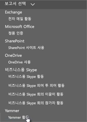 Office 365 보고서 대시보드의 보고서 선택 메뉴 스크린샷