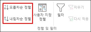 데이터 탭의 Excel 오름차순 또는 내림차순 정렬 단추