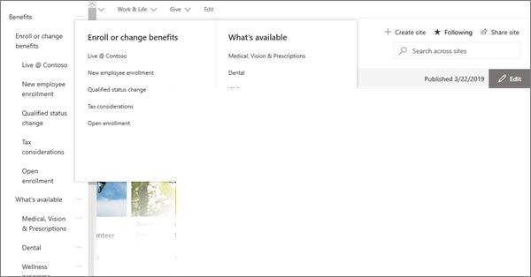SharePoint Online의 최신 허브 사이트에 대 한 MegaMenu 탐색의 예