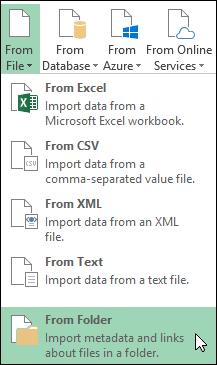 파워 쿼리 > 파일에서 >에서 폴더 옵션