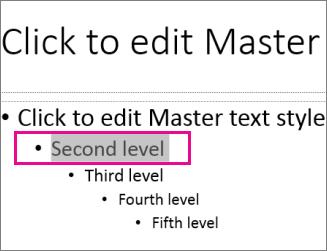 두 번째 수준 텍스트가 선택된 슬라이드 마스터 레이아웃