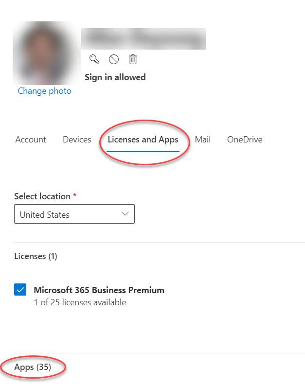 Microsoft 365 관리 센터의 계정 옵션 양식