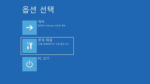 Windows 복구 환경의 옵션 선택 화면입니다.