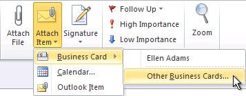 리본 메뉴의 기타 명함 첨부 명령
