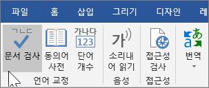 검토 탭 아래의 문서 검사 표시