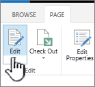 편집 단추가 강조 표시 된 페이지 탭