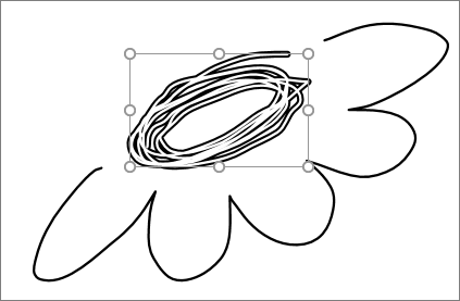 PowerPoint에서 올가미 도구로 선택된 그리기 부분 표시