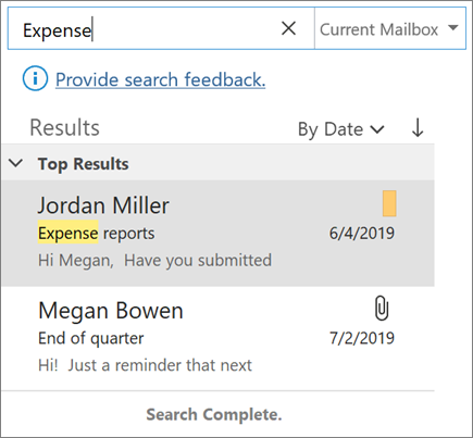 Outlook에서 검색을 사용 하 여 전자 메일 찾기
