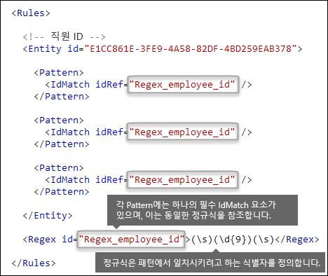 하나의 Regex 요소를 참조하는 여러 개의 Pattern 요소를 보여 주는 XML 태그