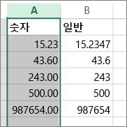 숫자 및 일반 서식 등 적용하는 서식별로 숫자가 나타나는 방식을 보여주는 예제