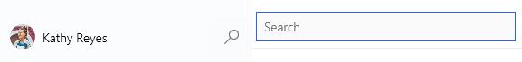 선택 된 돋보기 아이콘과 검색 필드가 열려 있습니다.