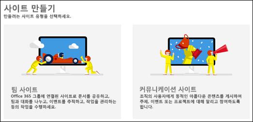 SharePoint Online의 사이트 유형 선택