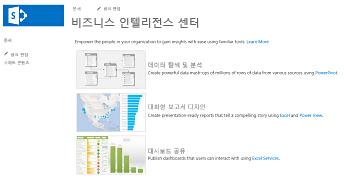 SharePoint Online의 비즈니스 인텔리전스 센터 사이트 홈 페이지