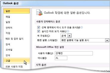 Outlook 옵션 대화 상자의 고급 명령