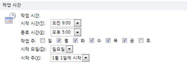 Outlook 옵션 대화 상자의 작업 시간 섹션