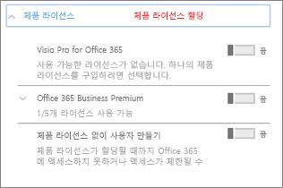 Office 365 Business Premium만 포함된 제품 라이선스 섹션