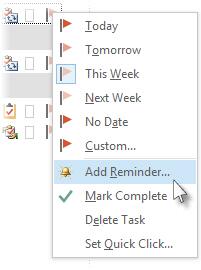 작업에서 플래그의 오른쪽 클릭 메뉴에 있는 미리 알림 추가 명령