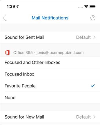 Outlook mobile에서 알림 설정 또는 해제