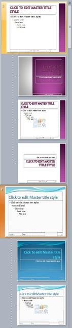 한 프레젠테이션의 두 개의 슬라이드 마스터