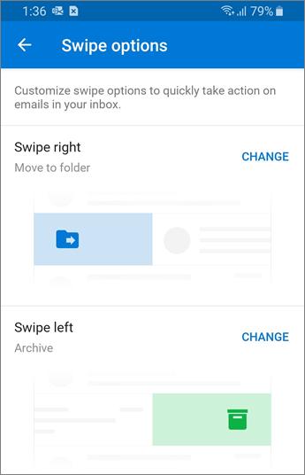 Outlook mobile에서 살짝 밀기 옵션 설정