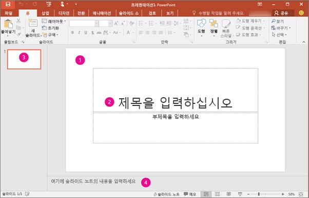 PowerPoint 작업 영역 표시