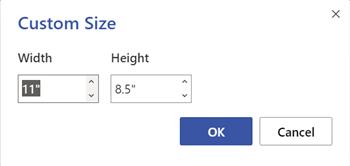 페이지 크기 대화 상자 너비와 높이를 인치 또는 센티미터로 지정합니다.