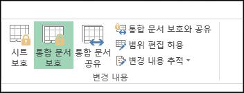 보호된 통합 문서에서는 리본의 통합 문서 보호 옵션이 강조 표시됩니다.