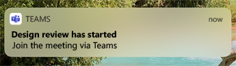 Teams를 통해서 모임 참가에 대한 옵션으로 디자인 검토가 시작되었다는 모바일 알림.