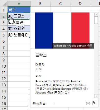 프랑스에 대해 연결된 레코드가 있는 셀, 아이콘을 클릭하는 커서, 카드 표시됨
