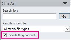 Bing 콘텐츠 포함 확인란