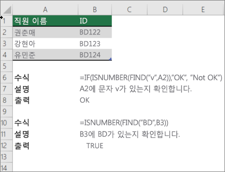 IF, ISNUMBER 및 FIND 함수를 사용 하 여 셀의 일부가 특정 텍스트와 일치 하는지 확인 하는 예제