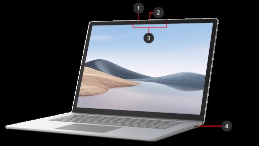 뚜껑이 열려 있는 Surface Laptop 4